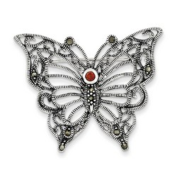 Marcasite Red CZ Butterfly Pin in 925 Sterling Silver