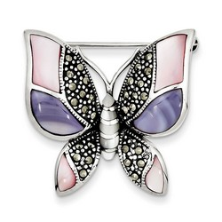 Marcasite Mother of Pearl Butterfly Pin in 925 Sterling Silver