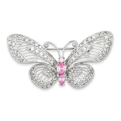 Pink and Clear CZ Butterfly Pin in 925 Sterling Silver