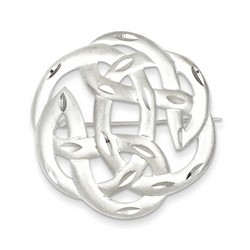 Satin Finish Diamond Cut Celtic Knot Pin in 925 Sterling Silver