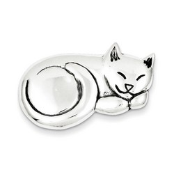 Antiqued Sleeping Cat Pin in 925 Sterling Silver