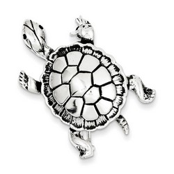 Antiqued Turtle Pin in 925 Sterling Silver