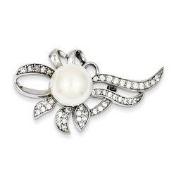 Imitation Pearl and CZ Pin in 925 Sterling Silver