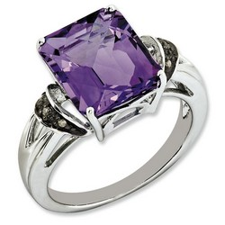 Amethyst & Diamond Octagonal Ring 925 Sterling Silver 10x9mm 5.6ct