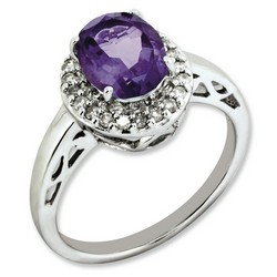Amethyst & Diamond Oval Ring 925 Sterling Silver 11x11mm 3.5gr 1.6ct