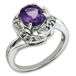 Amethyst & Diamond Oval Ring 925 Sterling Silver 12x12mm 3.65gr 1.6ct