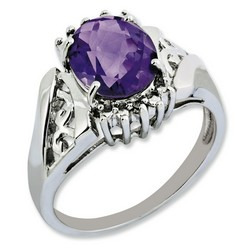 Amethyst & Diamond Oval Ring 925 Sterling Silver 10x8mm 3.5gr 2.2ct