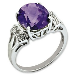 Amethyst & Diamond Oval Ring 925 Sterling Silver 9x15mm 3gr 4.55ct