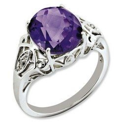 Amethyst & Diamond Oval Ring 925 Sterling Silver 10x10mm 2.75gr 4.55ct