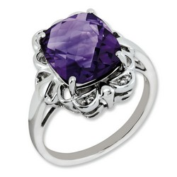 Amethyst & Diamond Ornate Ring 925 Sterling Silver 15x13mm 3.95gr 5.45ct