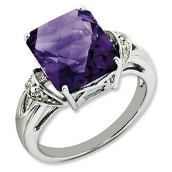 Amethyst & Diamond Octagonal Ring 925 Silver 11x9mm 3.15gr 5.6ct