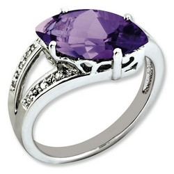 Amethyst & Diamond Offset Ring 925 Sterling Silver 8x14mm 3.7gr 2.75ct