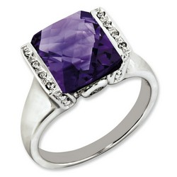 Amethyst & Diamond Octagonal Ring 925 Silver 10x13mm 3.2gr 4.25ct