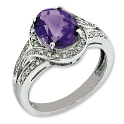 Amethyst & Diamond Oval Ring 925 Sterling Silver 11x10mm 3.48gr 2.2ct