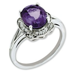 Amethyst & Diamond Promise Ring 925 Sterling Silver 11x10mm 2.93gr 2.4ct