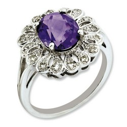 Amethyst & Diamond Oval Ring 925 Sterling Silver 15x15mm 3.73gr 2.2ct