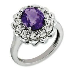 Amethyst & Diamond Oval Ring 925 Sterling Silver 14x14mm 4.51gr 2.2ct