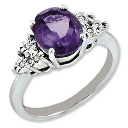 Amethyst & Diamond Oval Ring 925 Sterling Silver 9x18mm 2.96gr 2.4ct