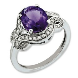 Amethyst & Diamond Oval Ring 925 Sterling Silver 11x16mm 3.53gr 2.4ct