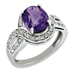 Amethyst & Diamond Oval Ring 925 Sterling Silver 12x12mm 3.41gr 2.2ct