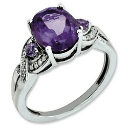 Amethyst & Diamond Oval Ring 925 Sterling Silver 9x16mm 2.75gr 2.4ct