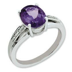 Amethyst & Diamond Oval Ring 925 Sterling Silver 8x6mm 3.25gr 2.4ct