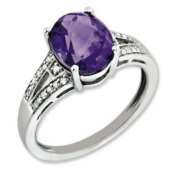 Amethyst & Diamond Oval Ring 925 Sterling Silver 9x6mm 2.71gr 2.4ct