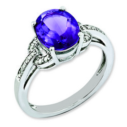 Amethyst & Diamond Oval Ring 925 Sterling Silver 9x11mm 2.75gr 2.4ct