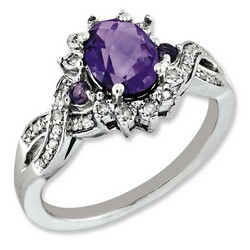 Amethyst & Diamond Oval Ring 925 Sterling Silver 11x9mm 3.25gr 1.05ct