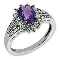 Amethyst & Diamond Oval Ring 925 Sterling Silver 11x11mm 3.5gr 1.05ct