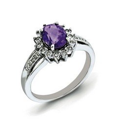 Amethyst & Diamond Mini Cocktail Ring 925 Silver 11x9mm 3.63gr 1.05ct