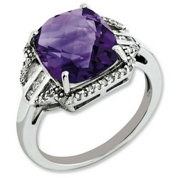 Amethyst & Diamond Pave Ring 925 Sterling Silver 10x16mm 2.4gr 5.45ct