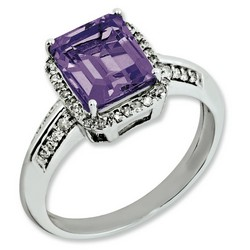 Amethyst & Diamond Octagonal Ring 925 Silver 9x9mm 2.65gr 2.15ct