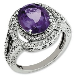 Amethyst & Diamond Oval Ring 925 Sterling Silver 16x16mm 4.09gr 3.2ct