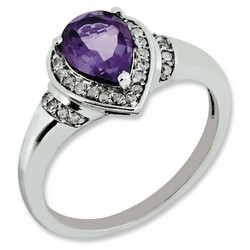 Amethyst & Diamond Pear Ring 925 Sterling Silver 8x7mm 3gr 1ct