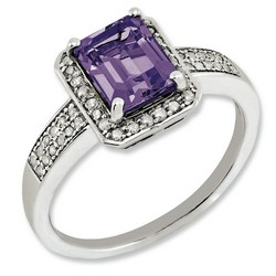 Amethyst & Diamond Octagonal Ring 925 Sterling Silver 10x8mm 3gr 1.45ct