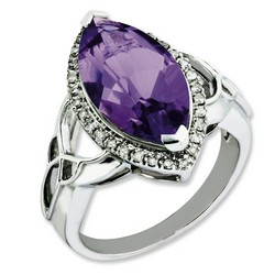 Amethyst & Diamond Marquise Ring 925 Silver 18x13mm 4.65gr 5.56ct