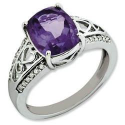 Amethyst & Diamond Filigree Ring 925 Sterling Silver 9x8mm 3.44gr 2.75ct