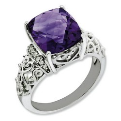 Amethyst & Diamond Filigree Ring 925 Silver 10x10mm 2.5gr 5.45ct