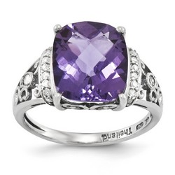 Amethyst & Diamond Filigree Ring 925 Sterling Silver 10x9mm 2.5gr 5.45ct