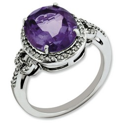 Amethyst & Diamond Oval Ring 925 Sterling Silver 11x10mm 2gr 4.55ct