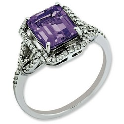 Amethyst & Diamond Octagonal Ring 925 Sterling Silver 9x9mm 2.15ct
