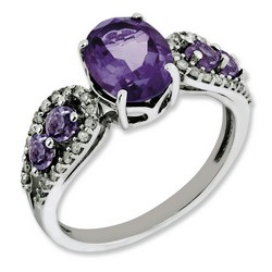 Amethyst & Diamond Five Stone Ring 925 Silver 8x20mm 2.24gr 1.6ct