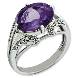 Amethyst & Diamond Oval Ring 925 Sterling Silver 8x13mm 3.75gr 4.25ct