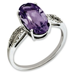 Amethyst & Diamond Oval Ring 925 Sterling Silver 11x7mm 1.62gr 4ct