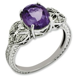 Amethyst & Diamond Oval Ring 925 Sterling Silver 8x18mm 2.75gr 2.4ct