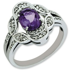 Amethyst & Diamond Oval Ring 925 Sterling Silver 13x13mm 3.25gr 1.05ct