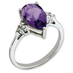 Amethyst & Diamond Pear Ring 925 Sterling Silver 10x12mm 1.75gr 2.9ct