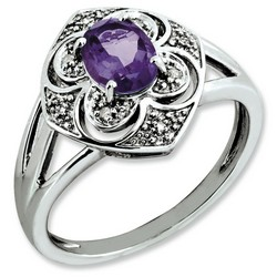 Amethyst & Diamond Oval Ring 925 Sterling Silver 12x13mm 3.17gr 0.75ct