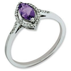 Amethyst & Diamond Marquise Ring 925 Sterling Silver 8x6.5mm 3gr 0.5ct